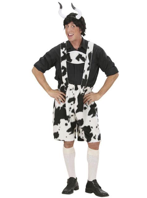 Disfraz Lederhosen de vaca para hombre - hombre