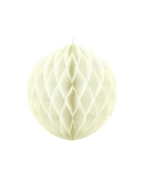 Beżowa dekoracja papierowa kula honeycomb 20cm