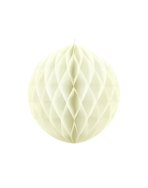 Honeycomb paper sphere in beige measuring 20 cm