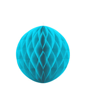 Honeycomb paper sphere in turquoise blue measuring 20 cm