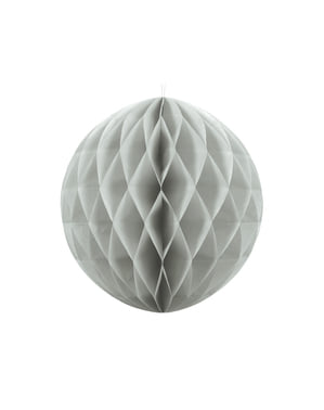Honeycomb paper sphere in grey measuring 20 cm