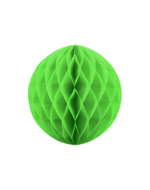Honeycomb paper sphere in light green measuring 20 cm