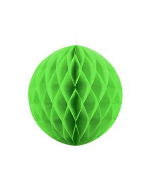 Jasnozielona dekoracja papierowa kula honeycomb 20cm