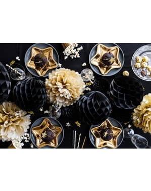 Czarna dekoracja papierowa kula honeycomb 40cm