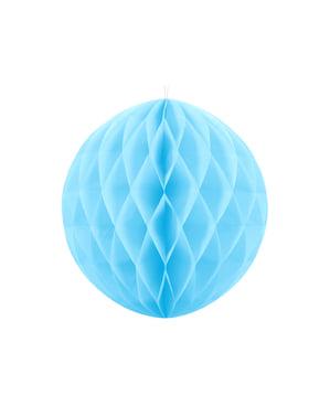 Jasnoniebieska dekoracja papierowa kula honeycomb 40cm