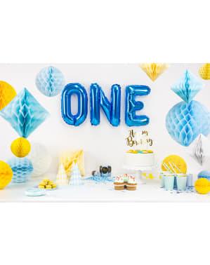 Honingraat papieren bol in hemelsblauw van 40 cm