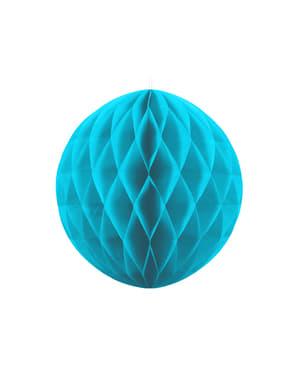 Honingraat papieren bol in turquoise blauw van 40 cm