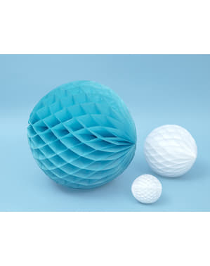 Honeycomb paper sphere in turquoise blue measuring 40 cm