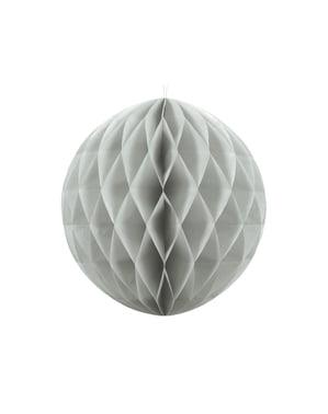 Szara dekoracja papierowa kula honeycomb 40cm