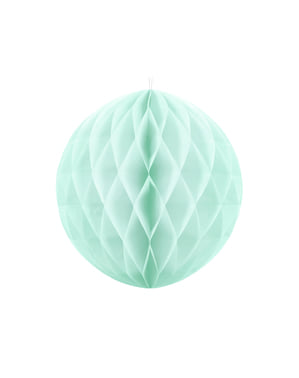 Honeycomb paper sphere in pastel mint green measuring 40 cm