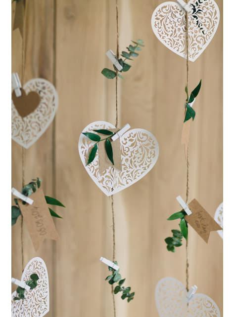 10 pinzas decorativas blancas de madera (3,5 cm) - Christmas