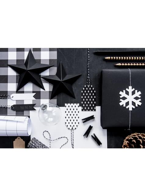 10 koristeellista puupyykkipoikaa, musta 3,5cm - Christmas