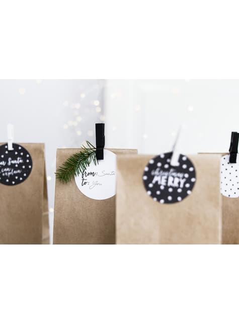 10 pinzas decorativas negras de madera (3,5 cm) - Christmas - comprar