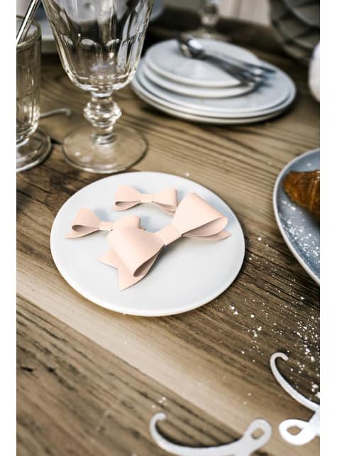 6 nœuds décoratifs rose pastel de 9,5 cm - Sweets