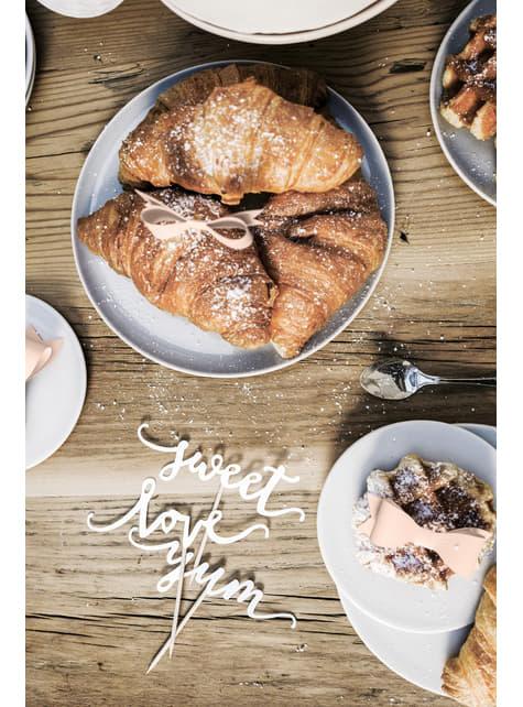 6 lazos decorativos para tarta rosa pastel (9,5 cm) - Sweets - para niños y adultos