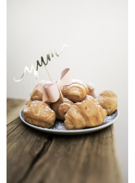 6 lazos decorativos para tarta rosa pastel (9,5 cm) - Sweets - original