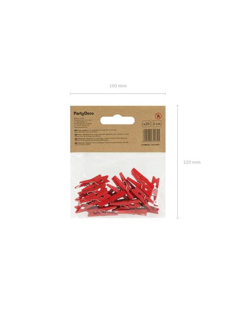 Conjunto de 20 molas decorativas vermelhas de 3 cm de madeira  - Valentine´s Day