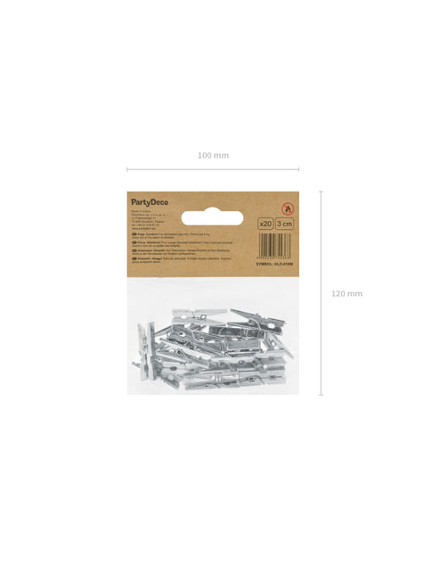 Balení 20 stříbrných dekorativních kolíčků, 3cm