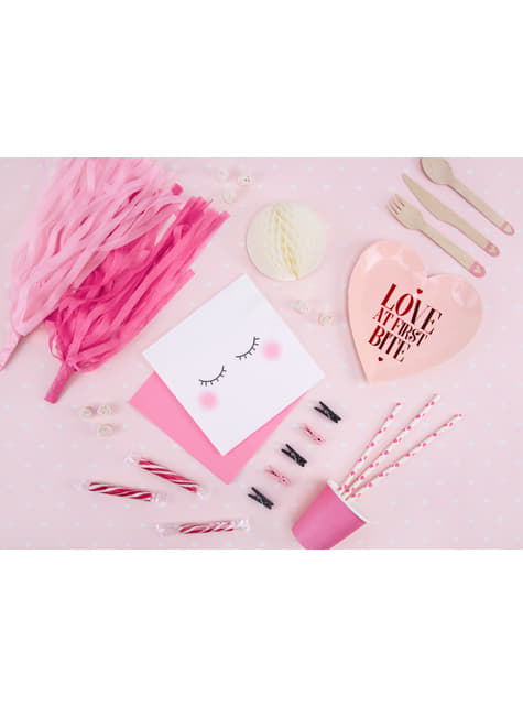 Conjunto de 20 molas decorativas rosas de 3 cm de madeira  - Valentine's Day