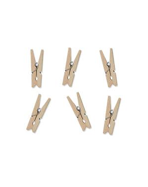 20 clești decorativi de 3 cm de lemn