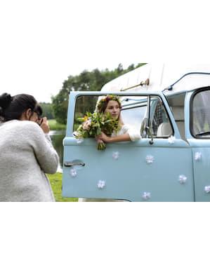 8 flores nenúfares adhesivas para coche de boda