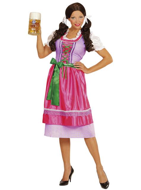 Fato com dirndl rosa-verde para mulher