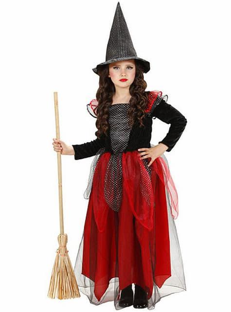 Strój wiedźma bordowo-czarny dla dziewczynki