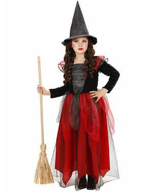 Kostium wiedźma bordowo-czarny dla dziewczynki