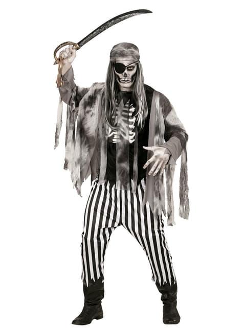 Disfraz de pirata de los siete mares zombie para hombre talla grande
