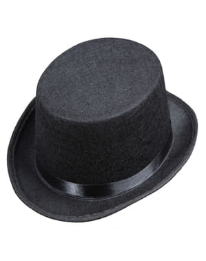 Svart hög hatt i filt för barn