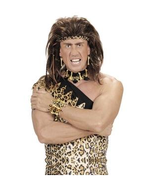 Bracelete de osso e pele de leopardo para adulto