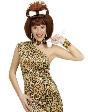 Brazalete de hueso y piel de leopardo para adulto