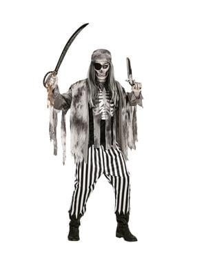Fato de pirata dos sete mares zombie para homem