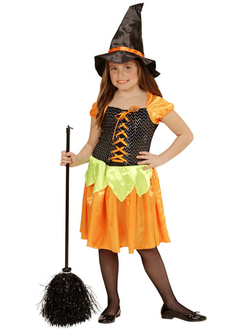 Fato de bruxinha abóbora com lantejoulas para menina