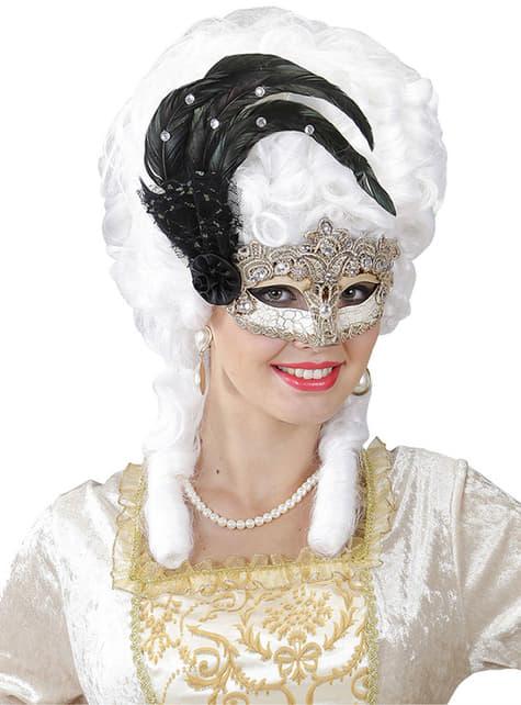 Máscara de Gran Gala con plumas para mujer
