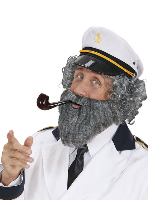 Barba con bigote gris de marinero para hombre - para tu disfraz