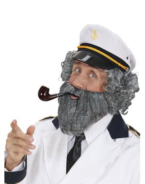 Matrose Bart mit Schnurrbart für Herren grau