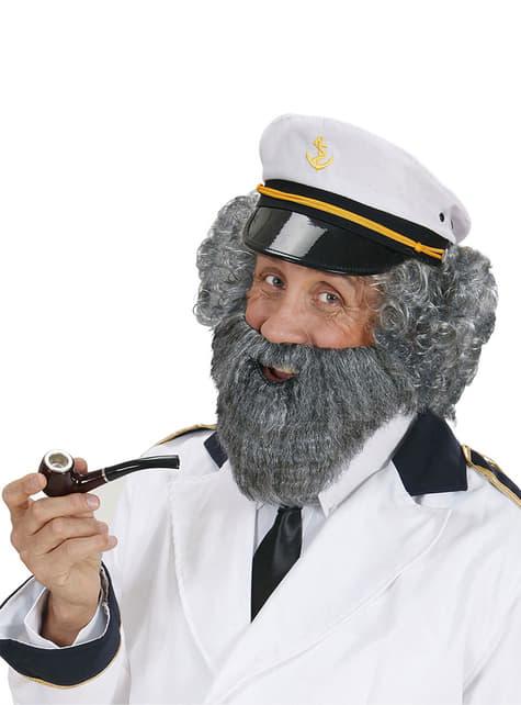Barba con bigote gris de marinero para hombre - original