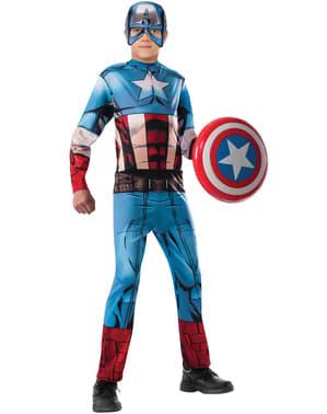 Fato de Capitão América Marvel dos Vingadores para menino