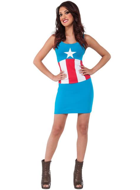 Vestido disfraz Capitán América Marvel classic para mujer