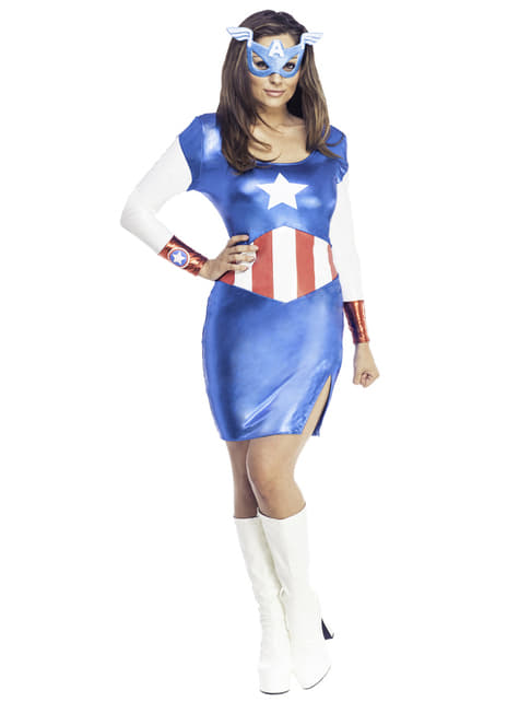 Vestido fato Capitão América clássico para mulher