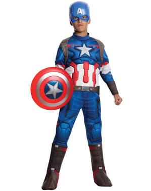 Fato de Capitão América do filme Os Vingadores: A Era de Ultron deluxe para menino