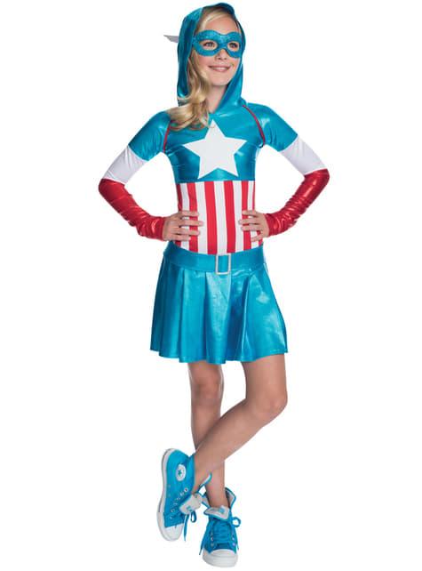 Vestido fato de Capitão América para menina