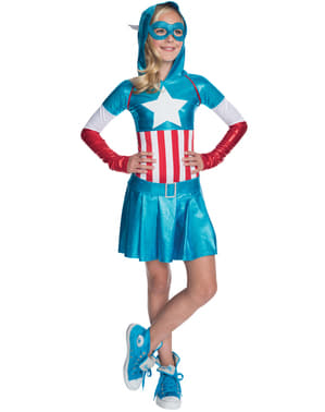 Captain America dress costume for a girl