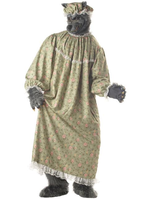 Disfraz de abuelita lobo de caperucita para hombre