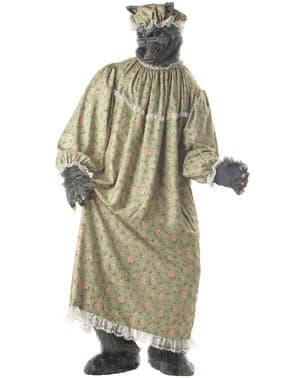 Costume da nonnina lupo di cappuccetto rosso per adulto