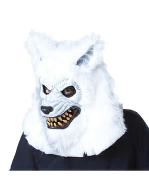 Weiße Werwolf Ani-Motion Maske für Erwachsene