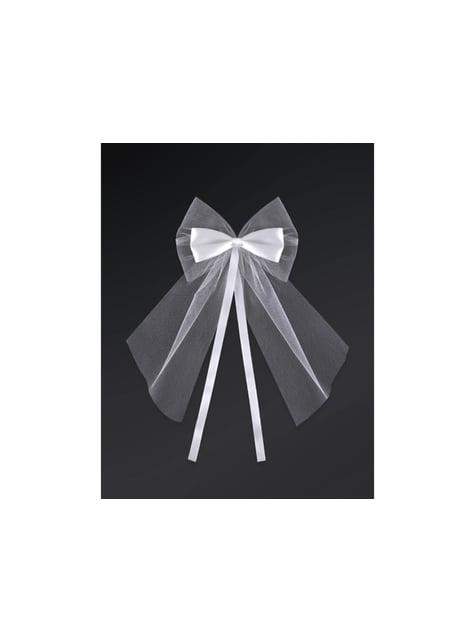 2 nœuds en mousseline et satiné blanc de 18 cm pour la voiture des mariés