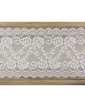 Dantelă decorativă albă de 15 cm pentru masă