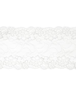 Dekorativ råhvid blonde, der måler 18 cm til bord